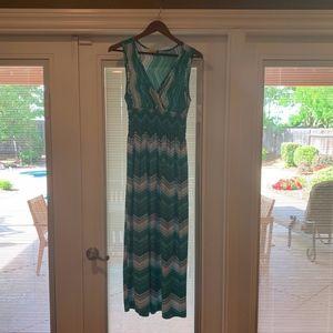 Green & White Maxi Dress